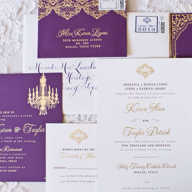 Purple, gold and white invitations. Favorite for 2016