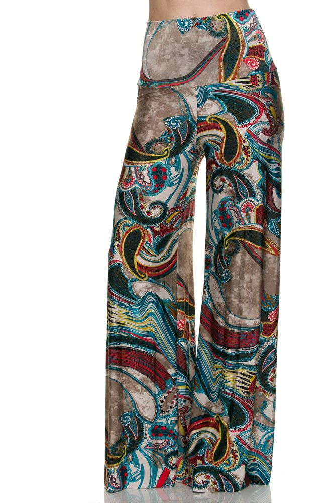 W23-Brown and Blue Multi Color Pallazo Pants