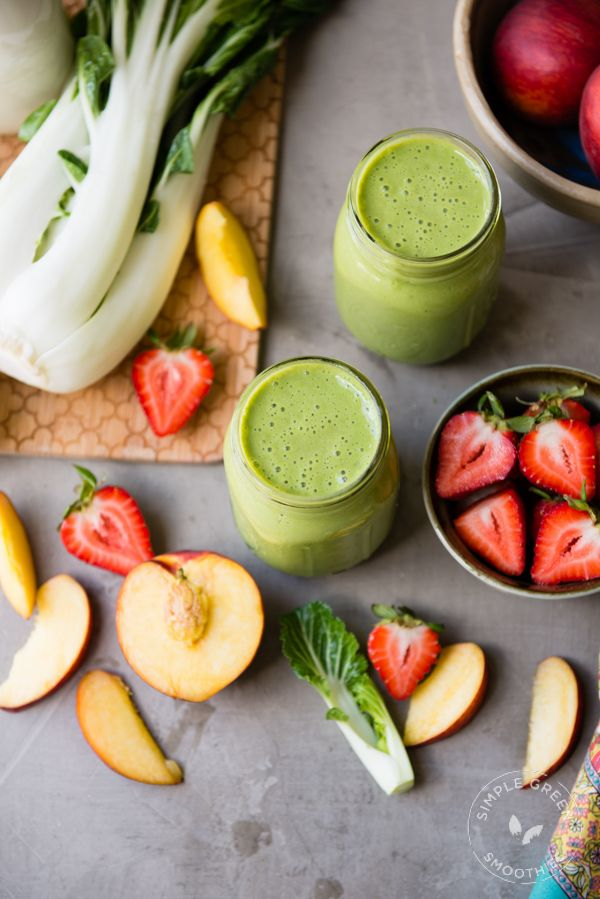 Blend up this Strawberry Peach Refresher Green Smoothie and all of the nutrition that goes with it! I SimpleGreenSmoothies.com