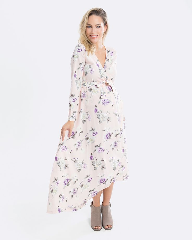 Pregnancy Wrap Dress - Pink Floral Maxi Maternity Dress - only $65 aud