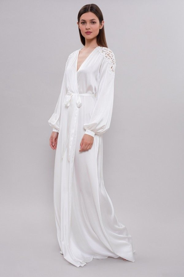 7629b694b9f Long Silk Bridal Robe with Lace on Shoulders