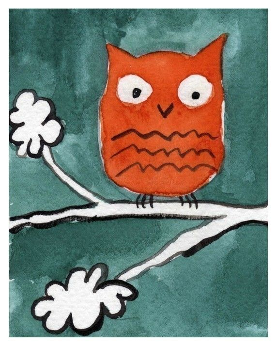 Watercolor Painting: Watercolor Illustration Owl -- Art Print --  Little Orange Owl -- 8x10