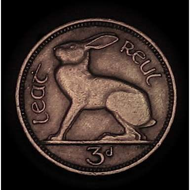 Vintage Irish Celtic 3 pence coin.