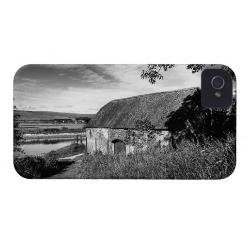 """River & Barn :- A wonderful, rural, scenic image down by the River Ouse in the village of Piddinghoe, Sussex, England. The image had a very dated feel about it once I'd processed it and I found it reminded me of some of the more """"laid back"""" black and white movies of the 40's and 50's. Cover For The iPhone 4. #iPhone4 #barn #rural #river #landscape #filmnoir #sussex #england #countryside #village #shade #shadow #sunlight"""