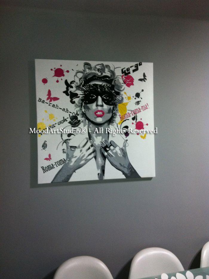 Cuadro moderno Lady Gaga pop art. Al ser un cuadro personalizado no podemos dejaros el link..Gracias Marcos por mandarnos la foto!  Aqui el link de nuestra pagina:http://www.moodartstudio.es