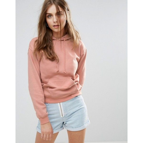 Brave Soul Hoodie With Pouch Pocket (830 THB) ❤ liked on Polyvore featuring tops, hoodies, pink, hooded pullover, pink hooded sweatshirt, tall hoodies, hoodie top and drop-shoulder tops