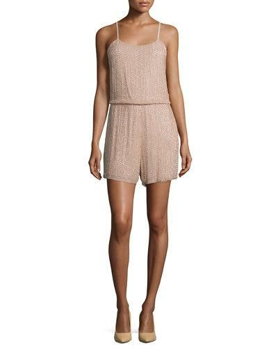 TCCNC Alice + Olivia Mika Sleeveless Beaded Silk Romper, Tan