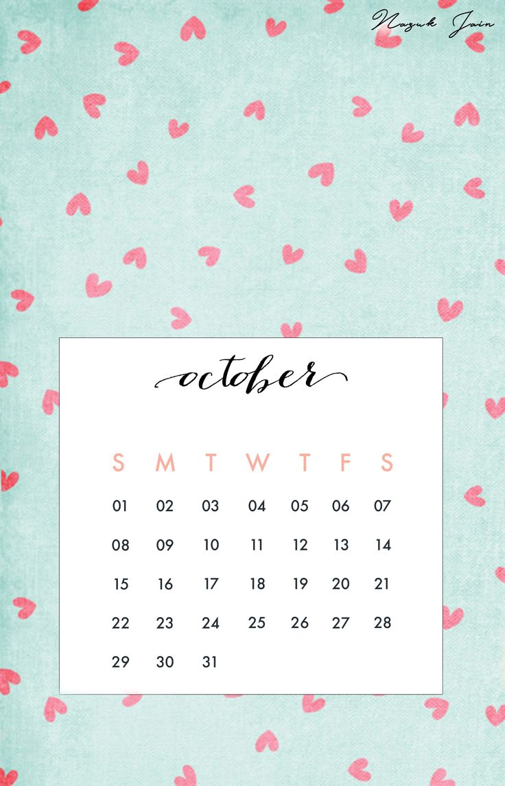 October 2017 Calendar Desktop