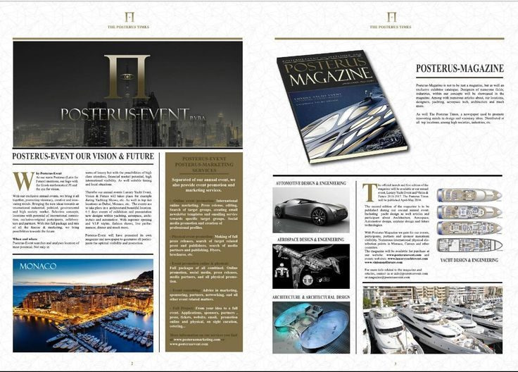 Posterus-Event, Luxury Yacht Event, Vision & Future and Posterus-Marketing invites Yachting industries/yacht designers, aerospace designers/industries/engineers architects, automotive industries/engineers/designers to submit for the first edition of The Posterus Times. More information and submission, http://posterusevent.com/newspaper.html (Submission deadline 15 April)
