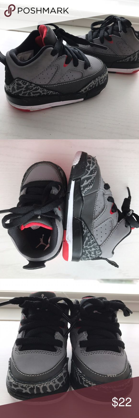 Nike Baby Air Jordan Shoes • Size 4 Nike Baby Air Jordan Shoes • Size 4 • Gender Neutral• Gently Used • Red, Black, Grey & White • Can Usually Fit Ages 6 Months to One Year, Give Or Take• Comes from a Smoke-Free Home • Cat-Free Home • Very Cute! • Make Me An Offer! Nike Shoes Baby & Walker
