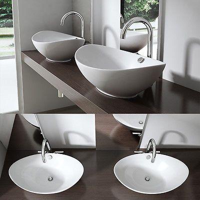 Keramik Waschschale Aufsatz Waschbecken Waschtisch 58x38x19 cm BL818 WOW