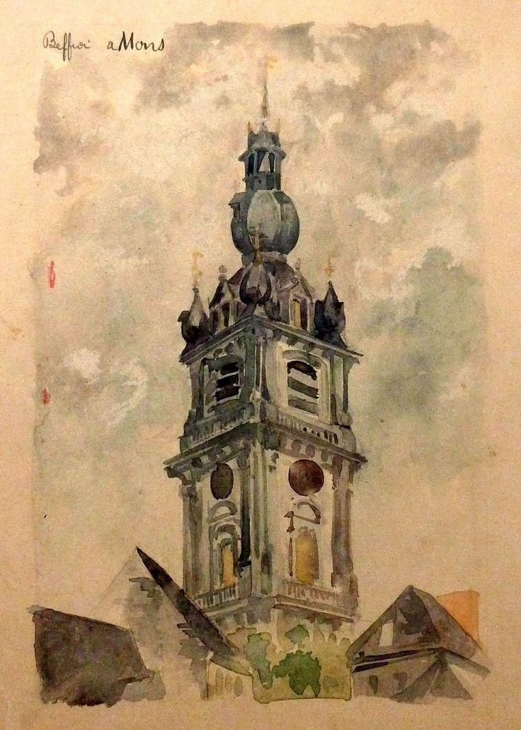 Beffroi à mons, aquarelle originale, Jean Ballet XIX°(décorateur de tous les Théâtres Parisiens)