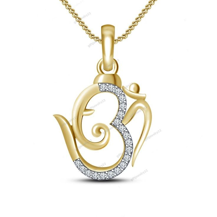 "14K Yellow Gold Plated Round Cut Diamond Ganpati Bappa ""Om"" Pendant 18"" Chain…"
