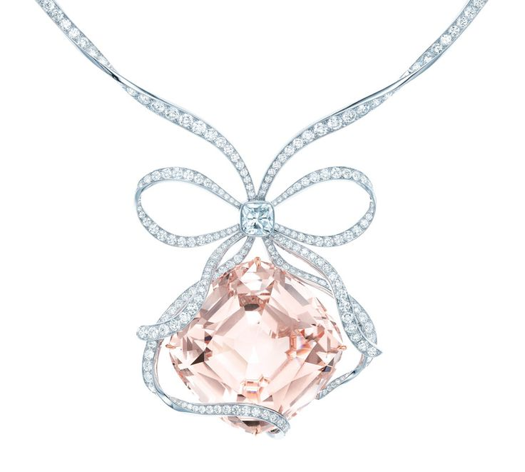 "Tiffany Anniversery Morganite necklace, cushioned shaped, 175.72ct, is ""tied"" with a ribbon-like diamond bow, centered with a 2ct Tiffany Novo® diamond and features a necklace of diamonds and platinum wire"
