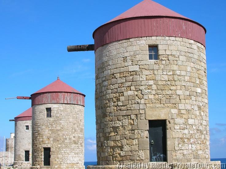 Byzantine Windmills - New Town Rhodes Island Greece