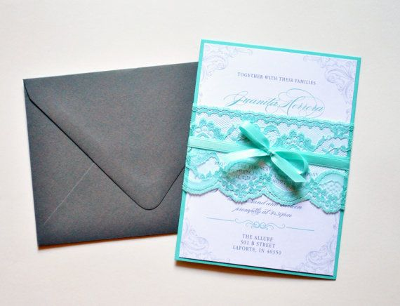Tiffany Blue Lace Wedding Invitations And Grey By Whimsy B Paperie 6 95 In 2018 Pinterest