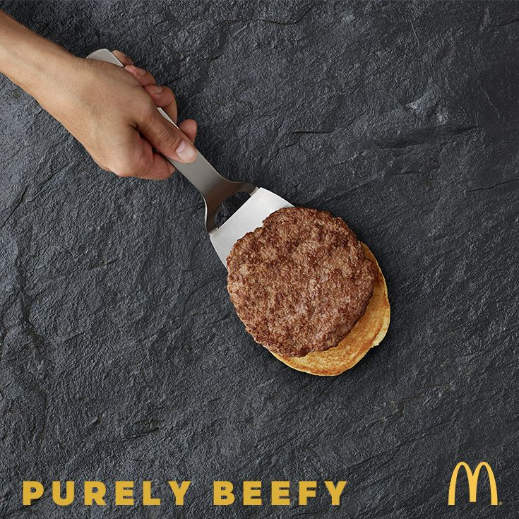 Here at McDonald's we believe in giving 100%. That's why our quality burgers start with thick, juicy, 100% beef with a pinch of salt and pepper. Try one of our many 100 % beef burgers today.