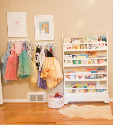 Use wall hooks??? Organize Dress up Clothes