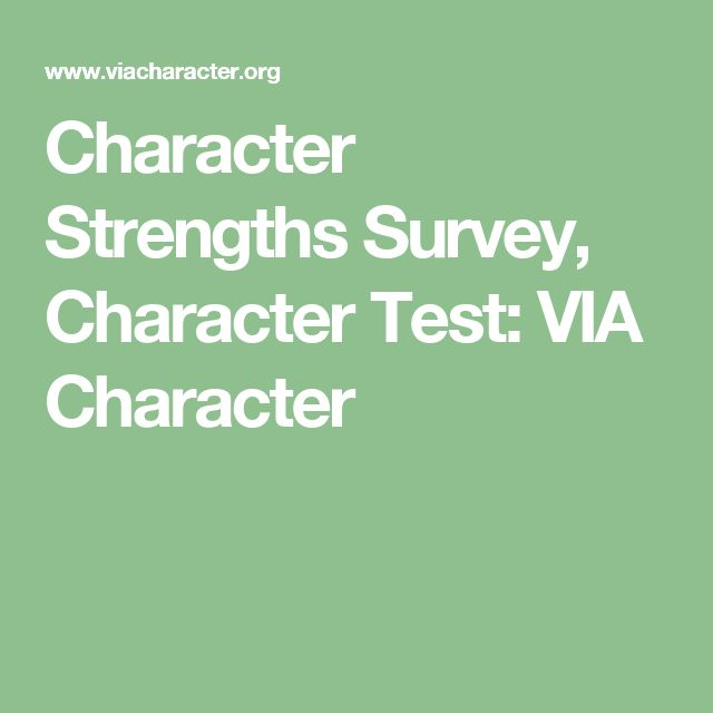 Character Strengths Survey, Character Test: VIA Character