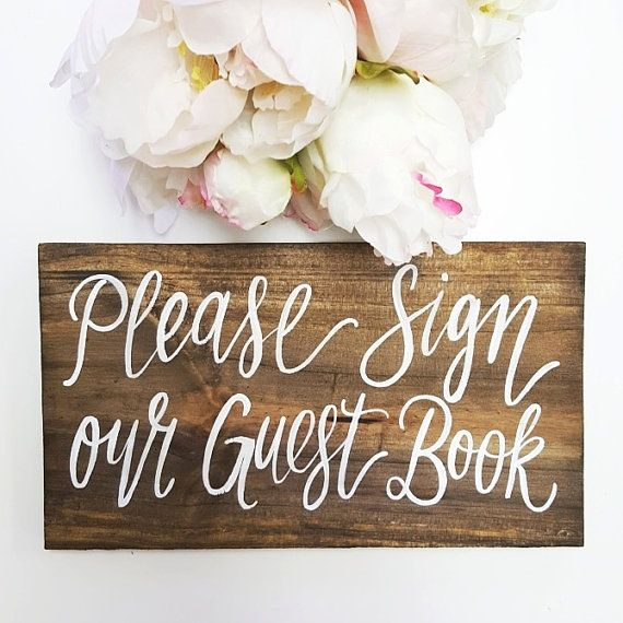 Rustic Wooden Guest Book Sign // Rustic Wedding Signs (WD-45)