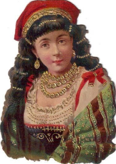 Victorian Die Cut Scrap Lovely Lady in Red w Gold Gilding c1880