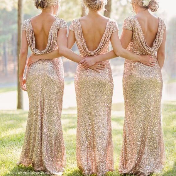 Shinning Rückenfreies Pailletten Langes Kleid Brautjungfer
