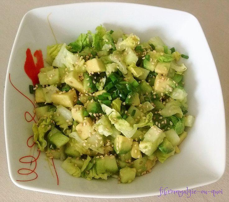 Salade verte avocat concombre