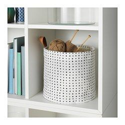 PLUMSA Storage basket, white, black - IKEA $4.99