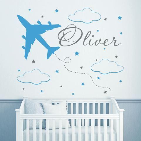 Removable Eco-friendly Vinyl Decal Custom Name Wall Decals for Boys Plane Clouds Vinyl Nursery Boy Room Decor Sticker D-102