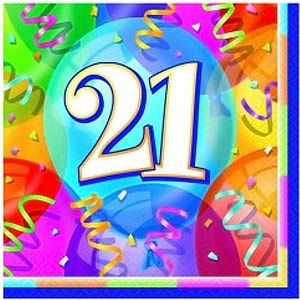 M11371 - Luncheon Napkins - 21st Birthday Napkins Brilliant 21st Birthday Luncheon Napkins 33cm x 33cm - Pack of 16. Please note: approx. 14 day delivery