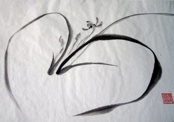23 best sumi e images on pinterest japanese art japanese painting and chinese art - Dessin d orchidee ...