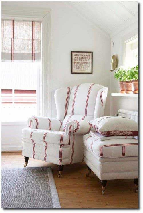 could do this instead. light grey/blue/green walls. one pattern of ivory and red stripe for furniture and curtains. Add soft pale pink for a girl or navy blue for a boy