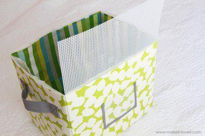 Plastic canvas & fabric storage basket tutorial