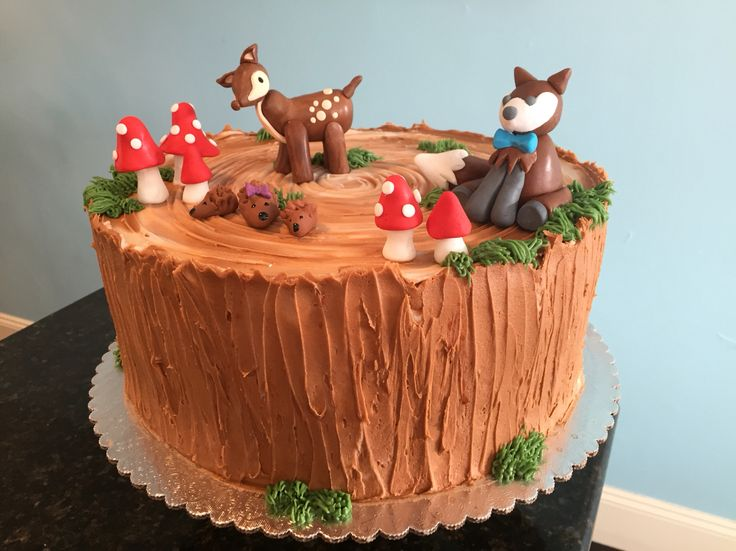 Woodland creature baby shower cake