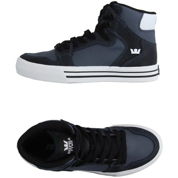 Supra High-tops & Trainers ($80) ❤ liked on Polyvore featuring shoes, sneakers, slate blue, flat sneakers, blue high tops, round toe sneakers, blue shoes and blue high top shoes