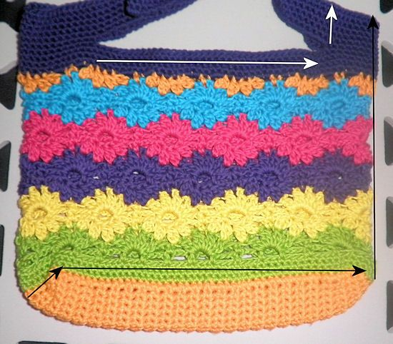 Tincture of Spring Purse - rainbow Catherine Wheel pattern free