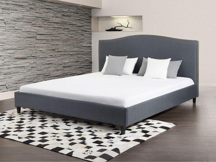 Bed grijs, tweepersoonsbed 140x200 cm, gestoffeerd bed, MONTPELLIER