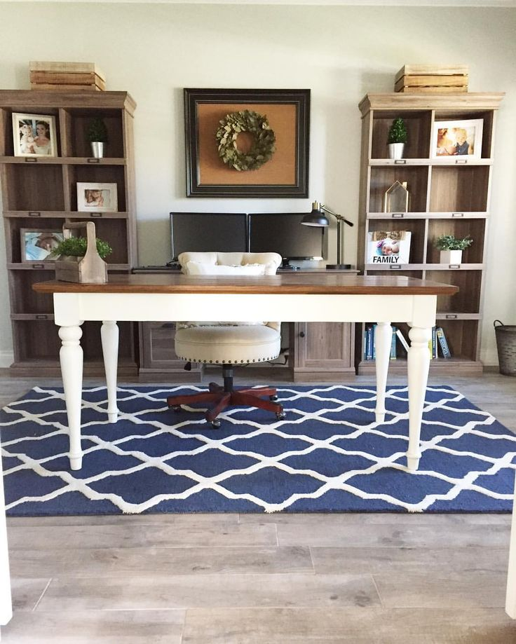 """Farmhouse office. Modern farmhouse. Pottery barn desk. Office design. Bookshelves. 36 Likes, 5 Comments - Clare & Grace Designs (@clareandgracedesigns) on Instagram: """"Moved my rug from my dining room into my office and I think it has found a new home. The 2 monitors…"""""""