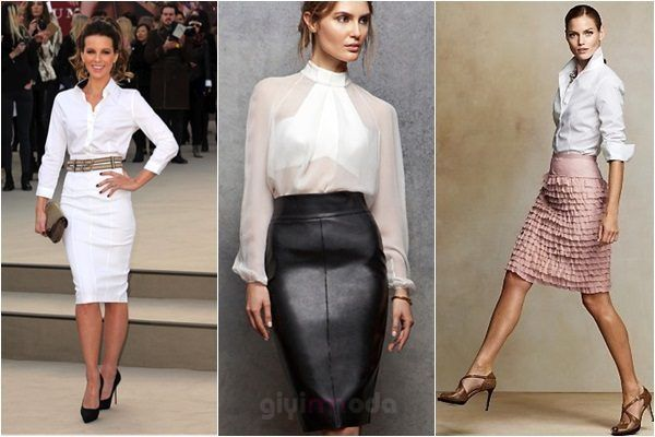 pencil skirt and White shirt