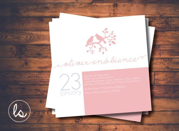 Love Birds Square Wedding Invitation ~ DIY PRINTABLE ~ Professional Printing with envelopes and postage included