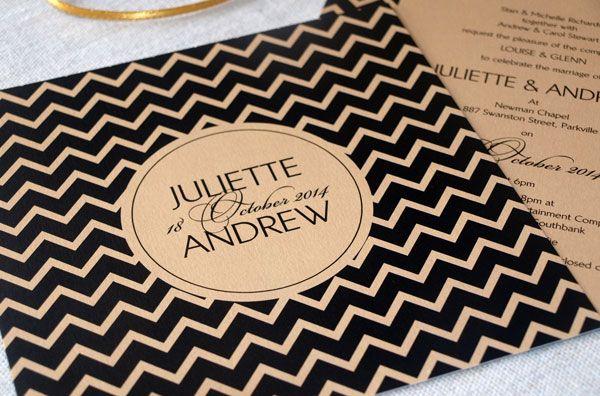 chevron wedding invitations, black and gold