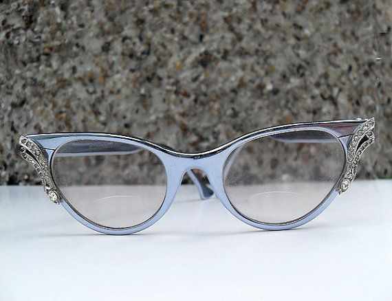 Antique J Hasday Cat Glasses Silver Blue Metal Frames With
