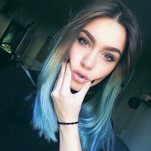 Beauty blue hair