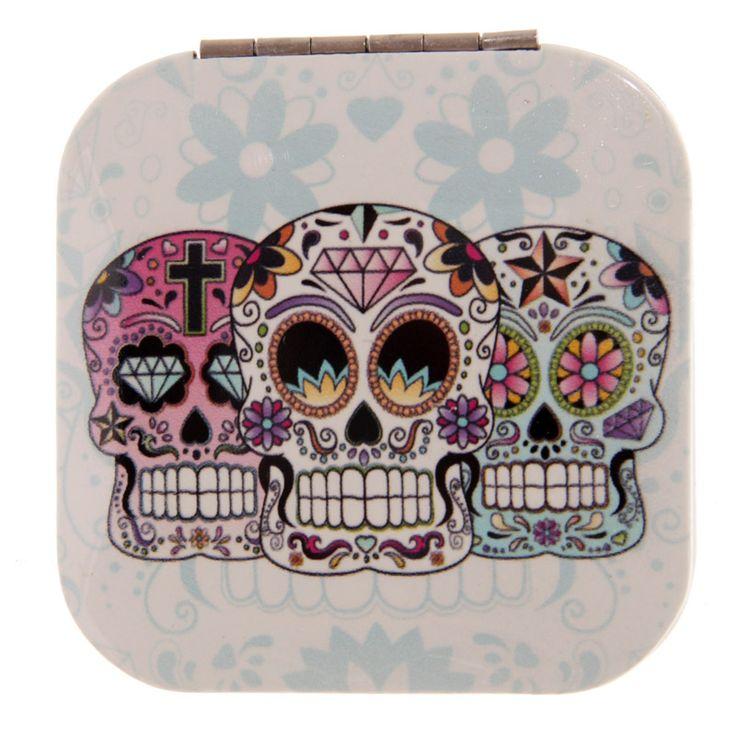 Compact Mirror - Mexican Skull - Dia de los Muertos http://www.raspberryheels.com/shop/produkt,en,stylish,lusterko-kwadrat-biale.html
