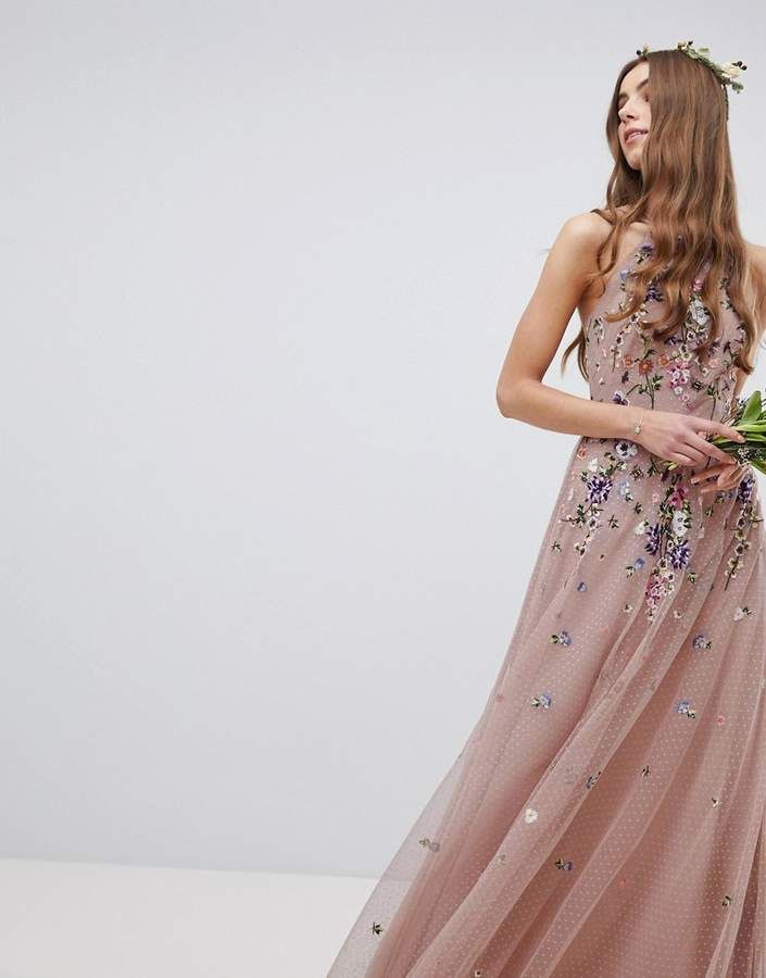 385eeb04b880 Asos Tall DESIGN Tall floral embroidered dobby mesh cami strap maxi dress # floral#embroidered#DESIGN