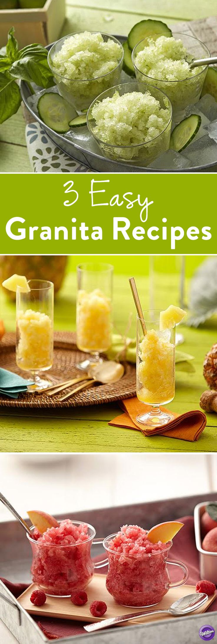 3 Easy Granita Recipes - Stay cool during the warm weather with an icy, thirst-quenching frozen granita! These three easy granita recipes - Pineapple Mimosa Granita, Basil Cucumber Granita, and Raspberry Peach Granita will help you cool down this summer!