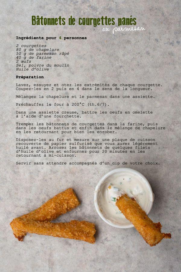 Bâtonnets de courgettes panés au parmesan