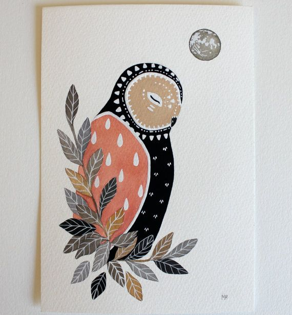 Owl Illustration Painting  Little Owl Luna  by RiverLuna on Etsy