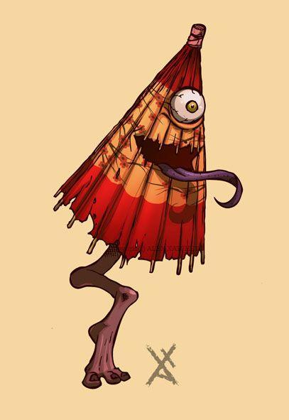 傘お化け (Umbrella Ghost)  Kasa-obake are a type of tsukumogami (japanese object spirits), the spirits of parasols who have reached their 100th birthday. They have one eye, a protruding tongue from an agape mouth, and a single foot, usually wearing a geta.