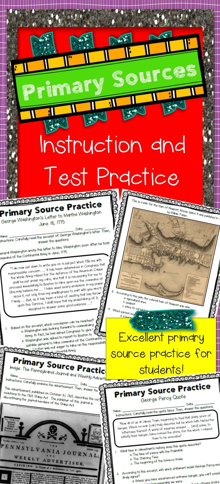 "Do your students need to practice analyzing primary sources?  Is your state test full of primary sources?   If you answered ""yes"" to either of these questions, this packet is for you!  I created these pages because my state's social studies assessment uses many primary sources but our textbook contains only one or two primary source activities. My students definitely need more exposure and practice with primary sources!"